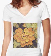 Peach Flower  Women's Fitted V-Neck T-Shirt