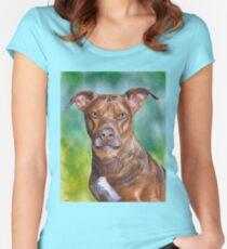 Charming Bit Pull Mix Dog, painting Women's Fitted Scoop T-Shirt