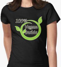 100% Vegan Inside Womens Fitted T-Shirt