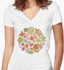 Circle composition with Autumn leaves,branches,berries Women's Fitted V-Neck T-Shirt