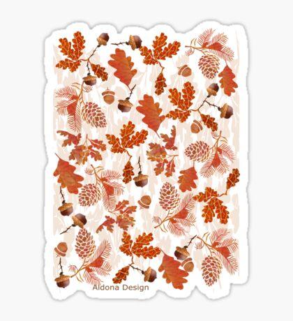 A pattern of acorn,pine cone & Leaves /cornucopia(780  Views) Sticker