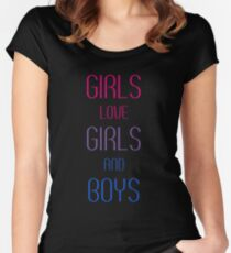 f31c54512 Girls Love Girls and Boys Fitted Scoop T-Shirt