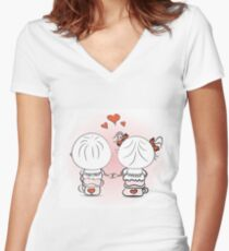 valentine's day illustration with boy and girl Women's Fitted V-Neck T-Shirt
