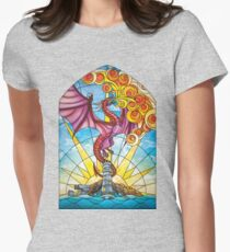 The Fey Man Stained Glass Dragon Women's Fitted T-Shirt