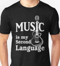 Music is my second language guitar white text T-Shirt