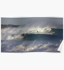 Surfers on the rolling waves off Queenscliff point at Manly Australia Poster