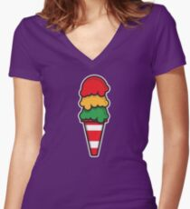 Traffic Cone Ice Cream Women's Fitted V-Neck T-Shirt