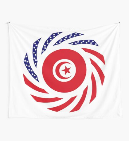 Tunisian American Multinational Patriot Flag Series Wall Tapestry