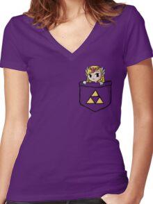 Legend Of Zelda - Pocket Zelda Women's Fitted V-Neck T-Shirt