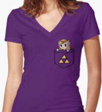 Legend Of Zelda - Pocket Zelda Women's Fitted V-Neck T-Shirt