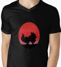 Flareon Sunset Silhouette Pokemon  Men's V-Neck T-Shirt