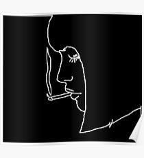 Mädchen raucht eine Zigarette Poster