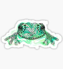 Zentangle stylized frog with abstract  colorful grunge background Sticker