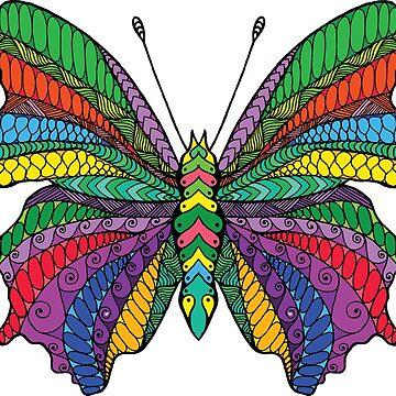 Beautifull zentangle stylized butterfly by palomita222