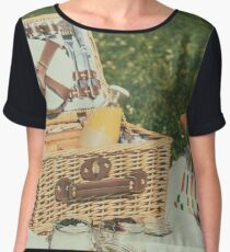 Picnic Basket With Fruits, Orange Juice, Croissants And No Bake Blueberry And Strawberry Jam Cheesecake Women's Chiffon Top