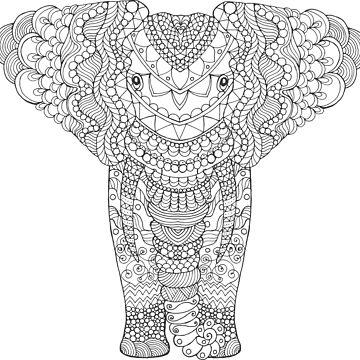 Fancy hand drawn elephant head. by palomita222