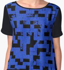 Line Art - The Bricks, tetris style, dark blue and black Chiffon Top