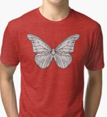 Beautiful black white butterfly Tri-blend T-Shirt