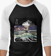 the great wave color glitch  Baseball ¾ Sleeve T-Shirt
