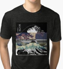 the great wave color glitch  Tri-blend T-Shirt