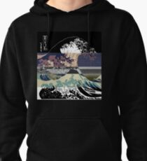 the great wave color glitch  Pullover Hoodie