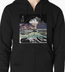 Sudadera con capucha y cremallera la falla de color de la gran ola