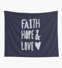 Faith Hope and Love x Navy Wall Tapestry