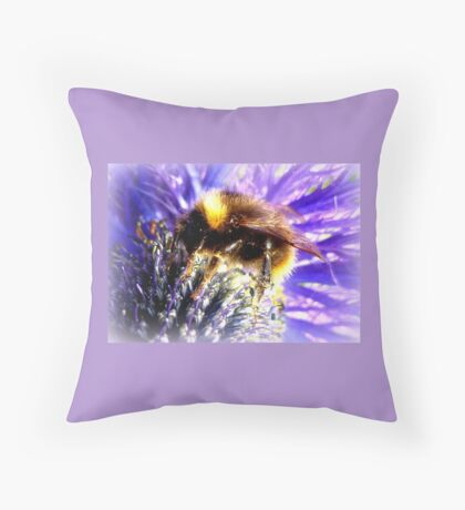 Bumblebee on Thistle Throw Pillow