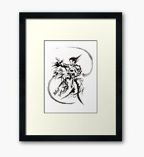 Aikido Martial Arts Large Poster Samurai Warrior Black and White Framed Print