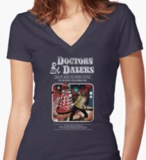 Doctors & Daleks Women's Fitted V-Neck T-Shirt