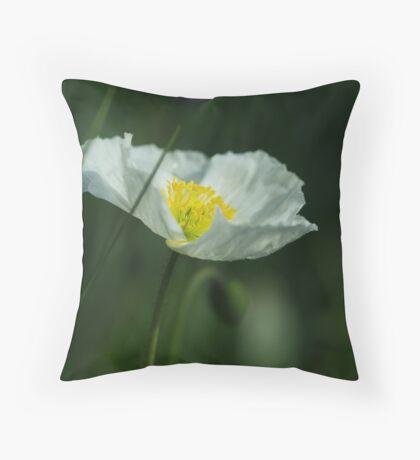 Good Morning White Poppy Throw Pillow