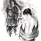 Samurai and Girl Cherry Blossom Large Poster by Mariusz Szmerdt