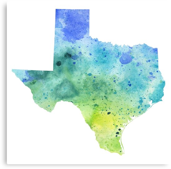 Watercolor Map Of Texas Usa In Blue And Green Canvas Prints By