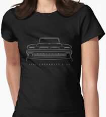 1965 Chevy C-10 Pickup - Front Stencil, white Womens Fitted T-Shirt