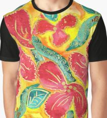 Watercolor Painting Tropical Red Hibiscus Gold Glitter Graphic T-Shirt