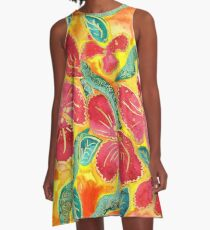 Watercolor Painting Tropical Red Hibiscus Gold Glitter A-Line Dress
