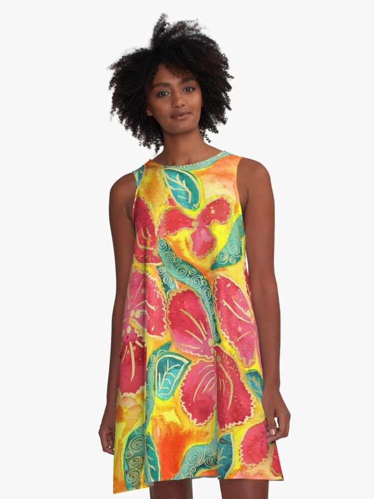 Watercolor Painting Tropical Red Hibiscus Gold Glitter A-Line Dress Front