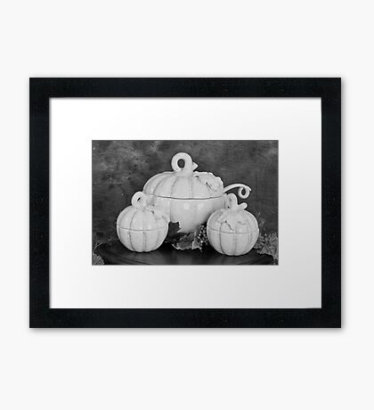 Pumpkins on the Table in Black and White Framed Print