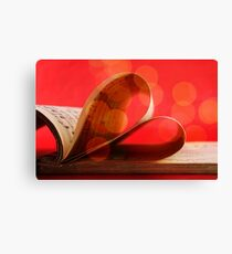 Music notation book with pages shaping heart  Canvas Print