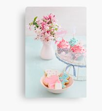 Baby shower cupcakes and cookies Canvas Print