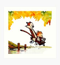 Play on lake Calvin and Hobbes Art Print