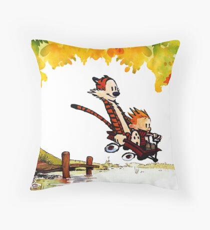 Play on lake Calvin and Hobbes Throw Pillow