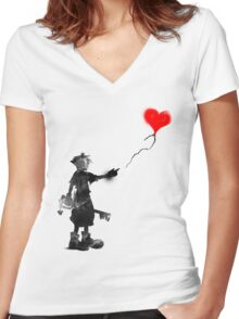 the boy,the key,the balloon Women's Fitted V-Neck T-Shirt