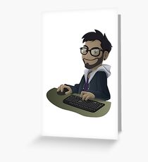 Computer Man Caricature #7 - Brown Guy w/ Glasses Greeting Card