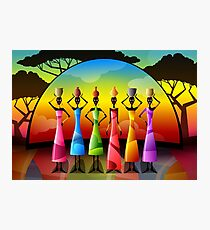African Women With Vessels Photographic Print