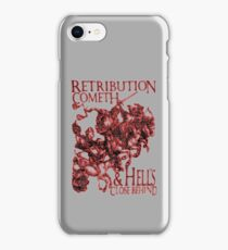 REVENGE, Four Horsemen of the Apocalypse, Durer, Retribution Cometh & Hell's Close behind! Biblical, Bible, Red Shadow on White iPhone Case/Skin