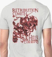 REVENGE, Four Horsemen of the Apocalypse, Durer, Retribution Cometh & Hell's Close behind! Biblical, Bible, Red Shadow on White Unisex T-Shirt