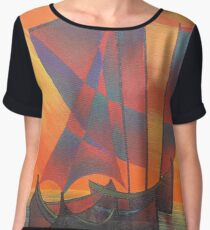 Red Sails in the Sunset Cubist Junk Abstract Chiffon Top