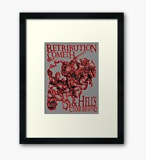 REVENGE, Four Horsemen of the Apocalypse, Durer, Retribution Cometh & Hell's Close behind! Biblical, Bible, Red Shadow on White Framed Print