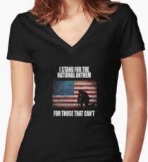 I Stand For The National Anthem Women's Fitted V-Neck T-Shirt